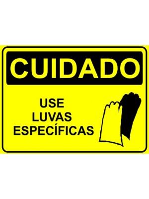 Placa de  Sinalizacao Cuidado Use luvas especificas