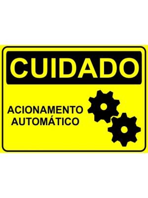 Placa de  Sinalizacao Cuidado Acionamento automatico