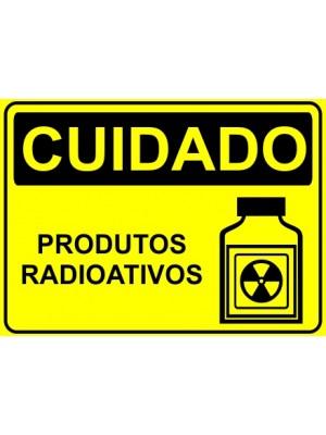 Placa de  Sinalizacao Cuidado Produtos radioativos