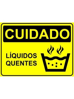 Placa de  Sinalizacao Cuidado Liquidos quentes