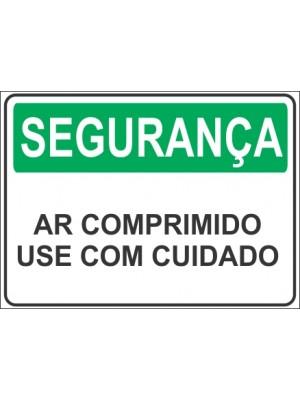 Placa de  Sinalizacao Seguranca Ar comprimido use com cuidado