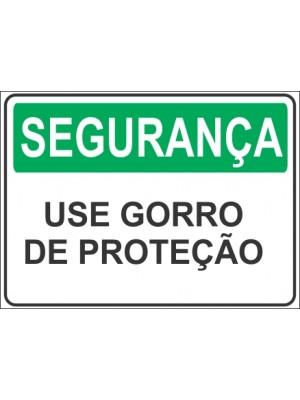 Placa de  Sinalizacao Seguranca Use gorro de protecao