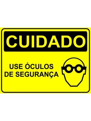 Placa de  Sinalizacao Cuidado Use oculos de seguranca