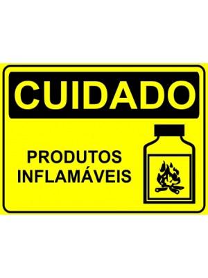 Placa de  Sinalizacao Cuidado Produtos inflamaveis