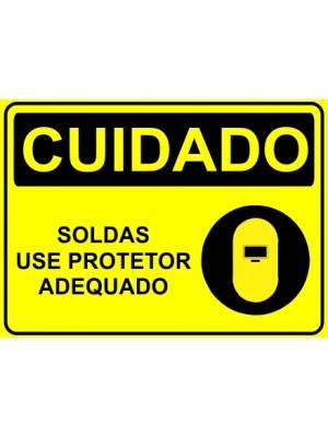 Placa de  Sinalizacao Cuidado Soldas use protetor adequado