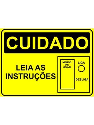 Placa de  Sinalizacao Cuidado Leia as instrucoes