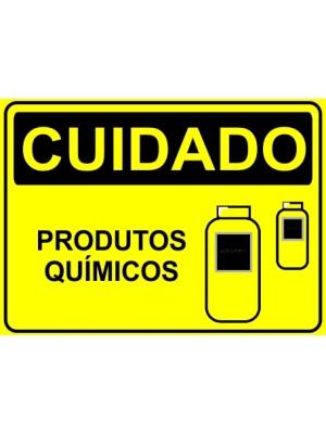 Placa de  Sinalizacao Cuidado Produto quimico