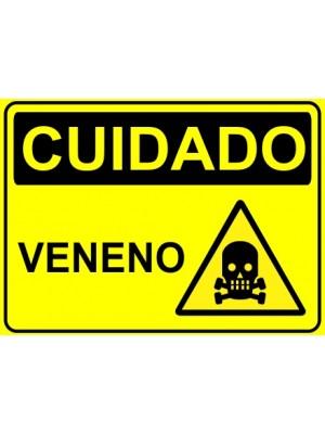 Placa de  Sinalizacao Cuidado Veneno