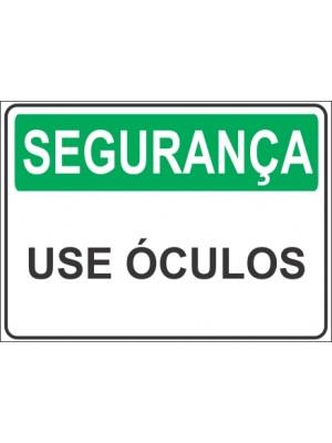 Placa de  Sinalizacao Seguranca Use oculos